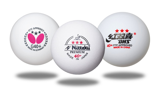 ITTF Approved Table Tennis balls from Butterfly (G40+), Nittaku (40+), and DHS (40+)